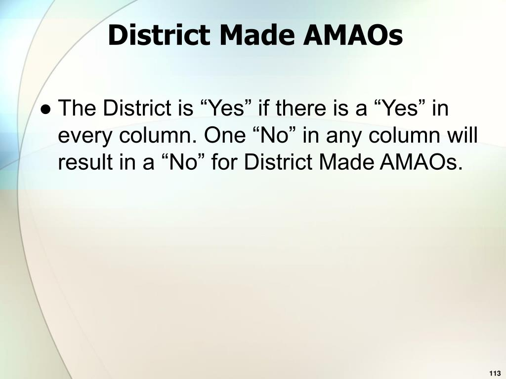 District Made AMAOs