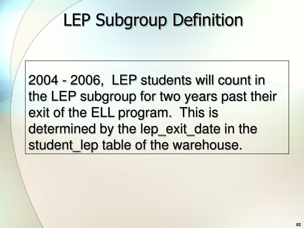 LEP Subgroup Definition