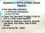 students in ayp u pass school reports