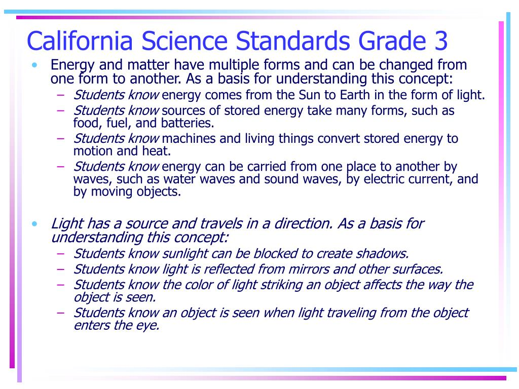 California Science Standards Grade 3