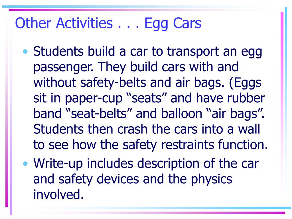 Other Activities . . . Egg Cars