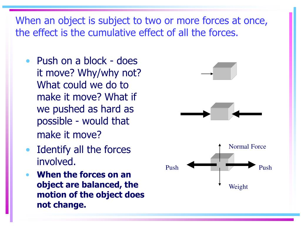 When an object is subject to two or more forces at once, the effect is the cumulative effect of all the forces.