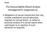 the accountability board reviews management s responses to