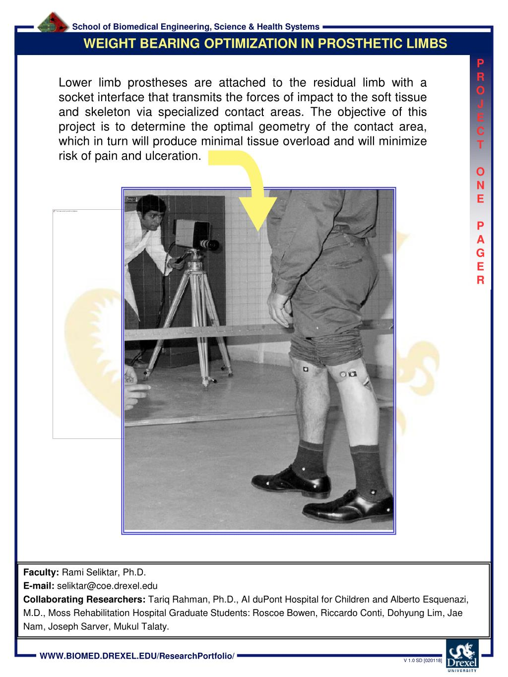 WEIGHT BEARING OPTIMIZATION IN PROSTHETIC LIMBS