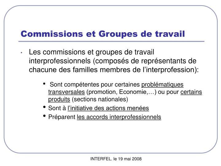 Commissions et Groupes de travail