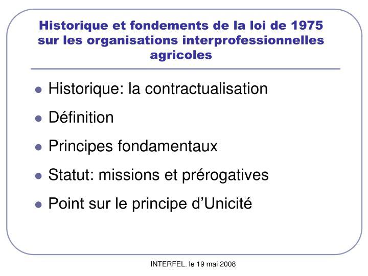 Historique et fondements de la loi de 1975