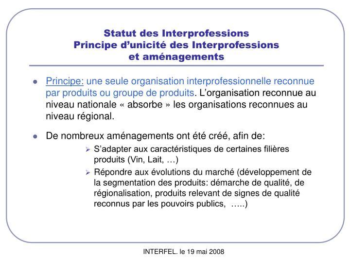 Statut des Interprofessions