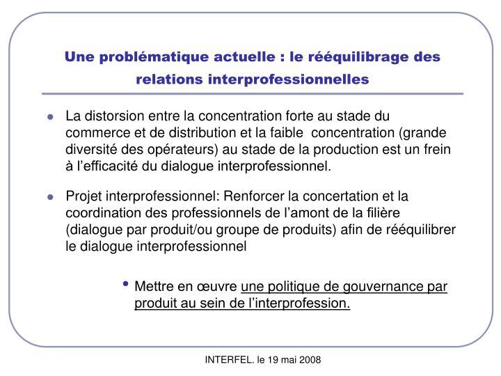 Une problématique actuelle : le rééquilibrage des relations interprofessionnelles