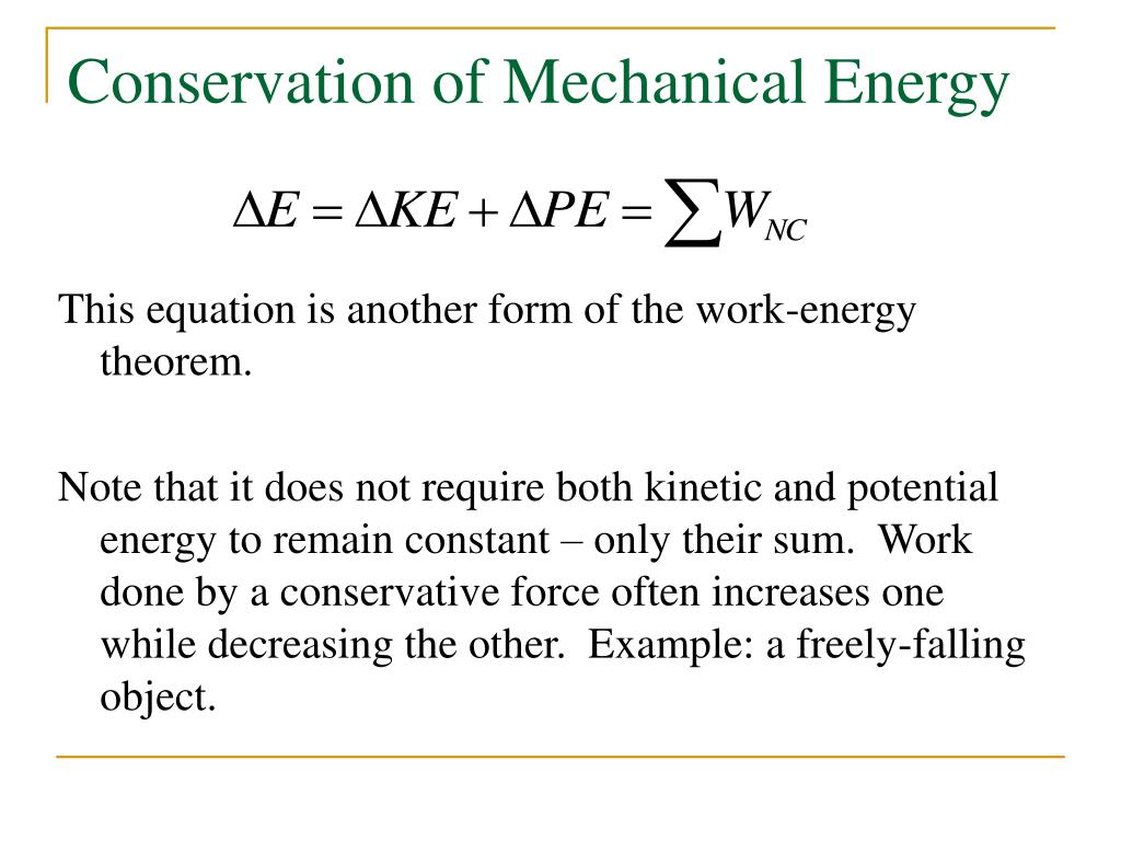 PPT - Work and Energy ... Formula Of Mechanical Energy
