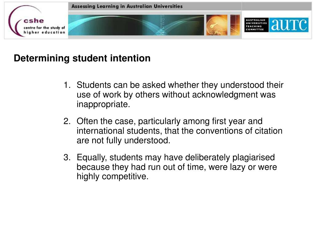 Determining student intention