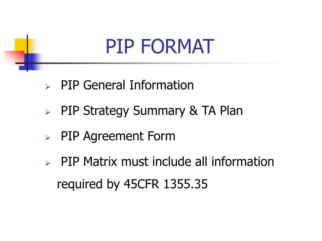 PIP FORMAT