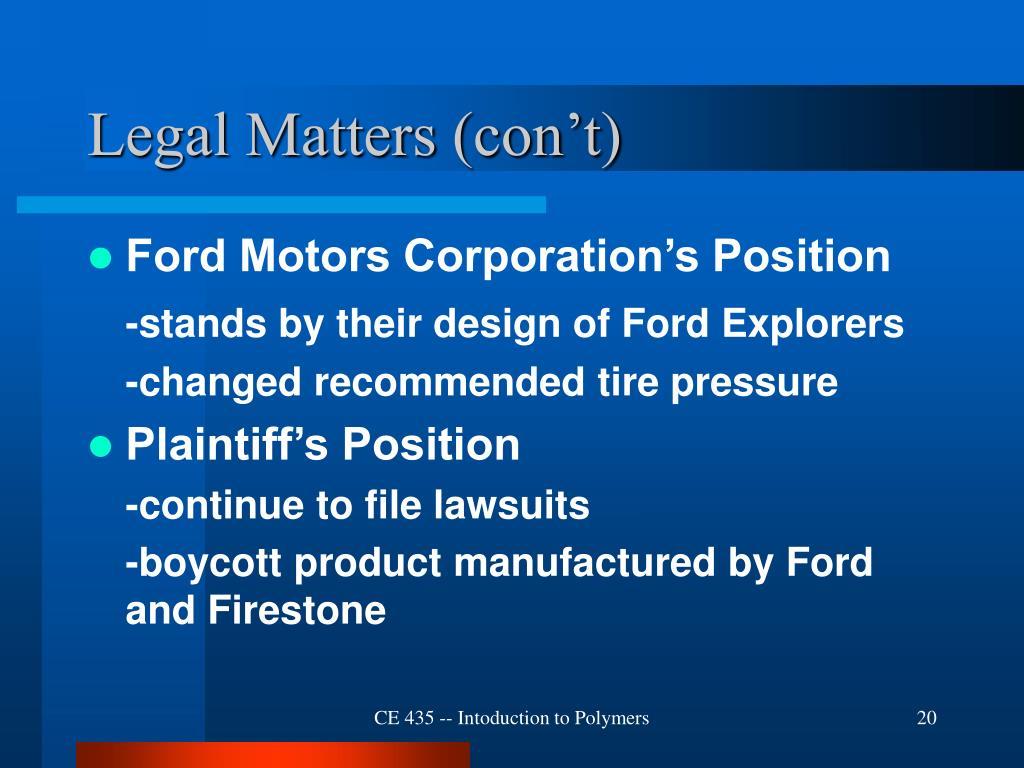 Legal Matters (con't)