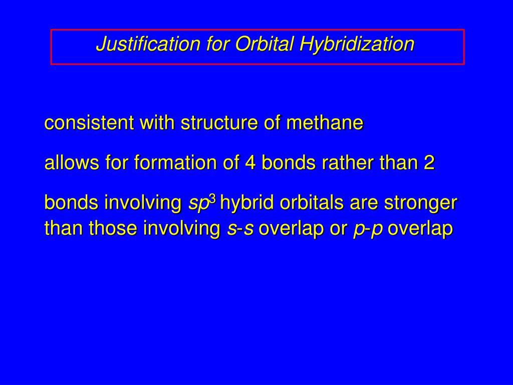 Justification for Orbital Hybridization