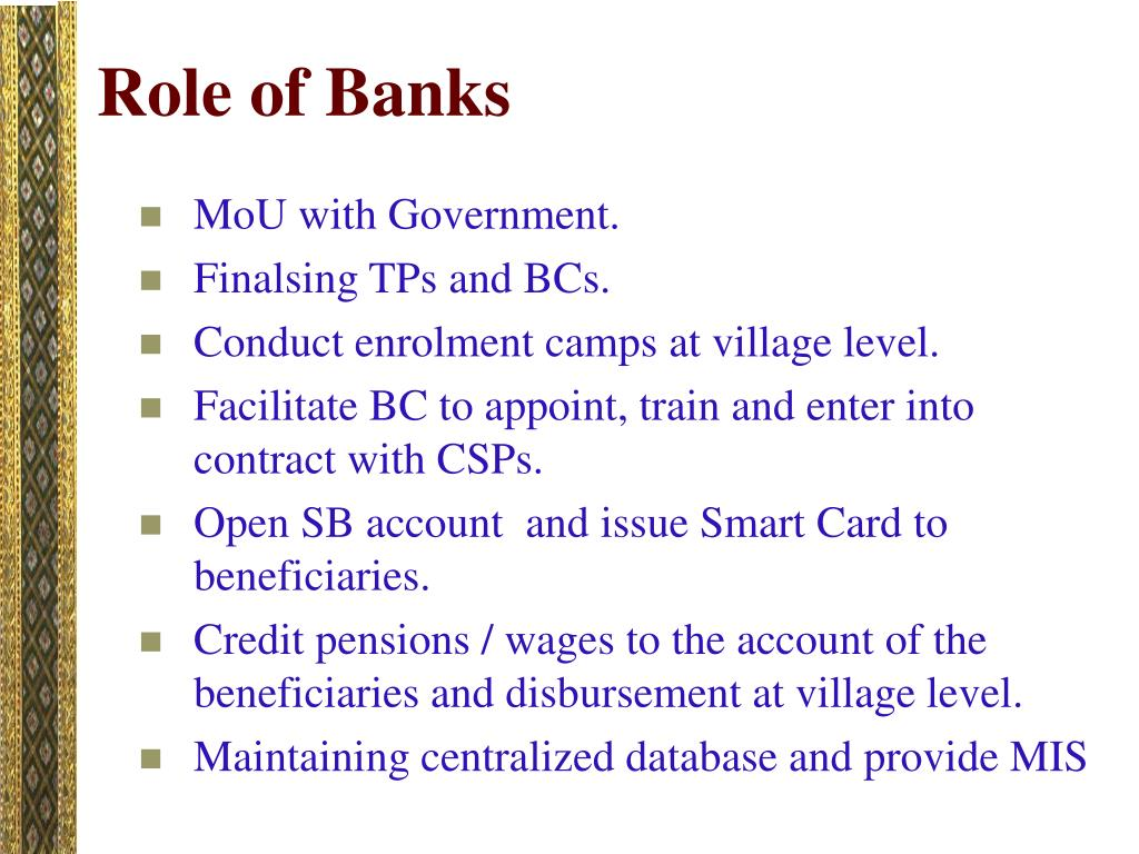 Role of Banks