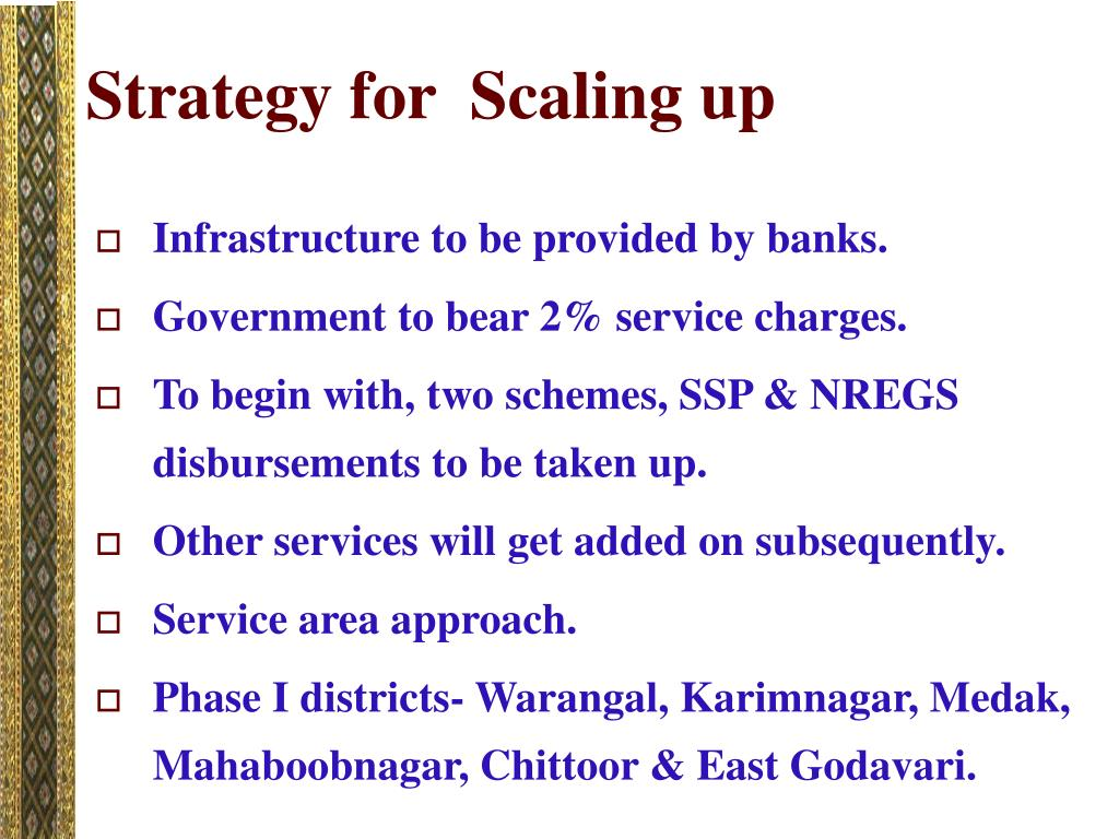 Strategy for  Scaling up