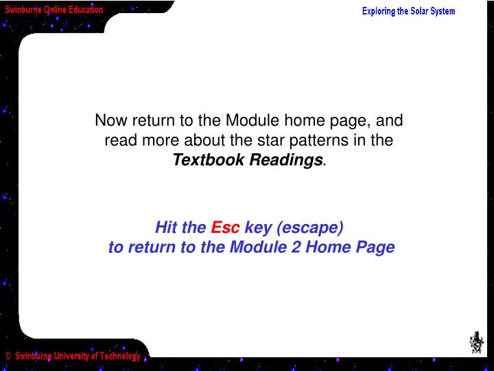 Now return to the Module home page, and