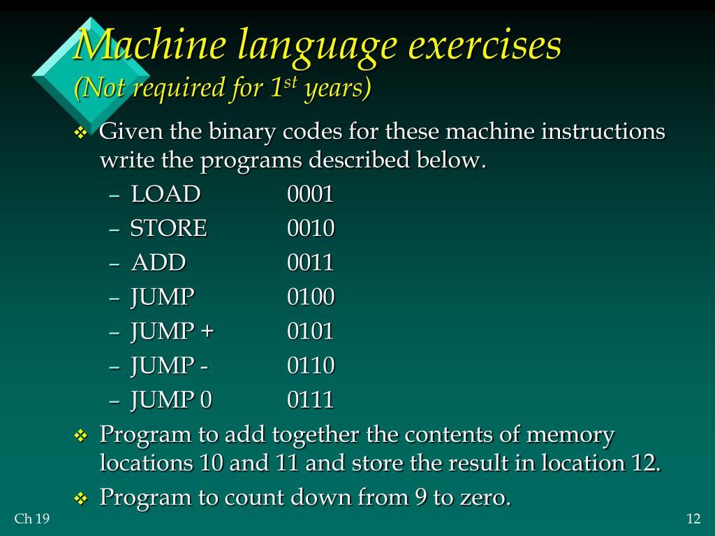 Machine language exercises