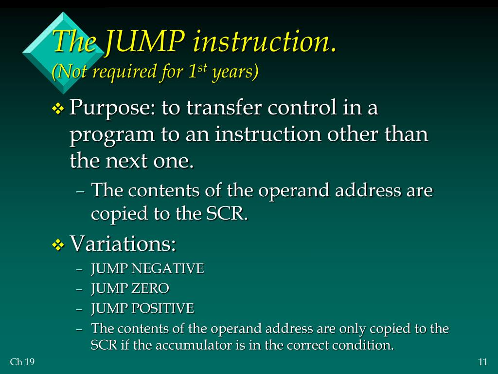 The JUMP instruction.