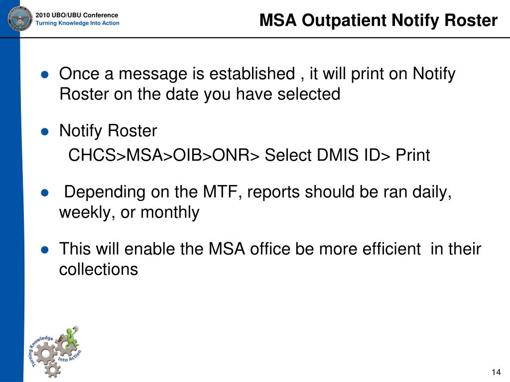MSA Outpatient Notify Roster