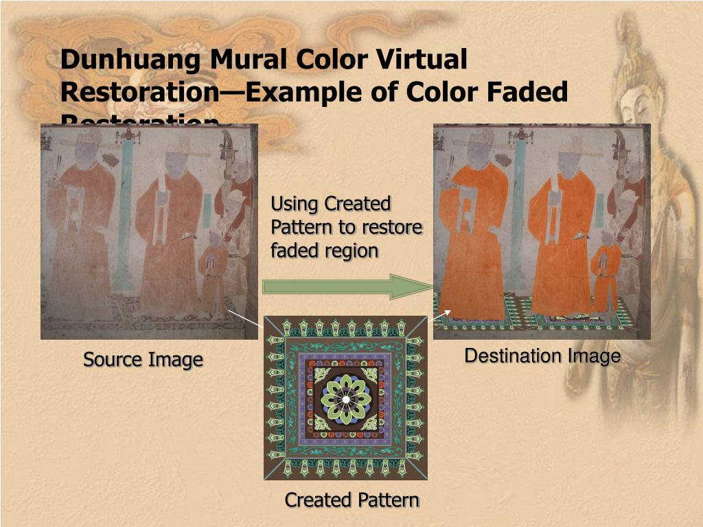 Dunhuang Mural Color Virtual Restoration—Example of Color Faded Restoration
