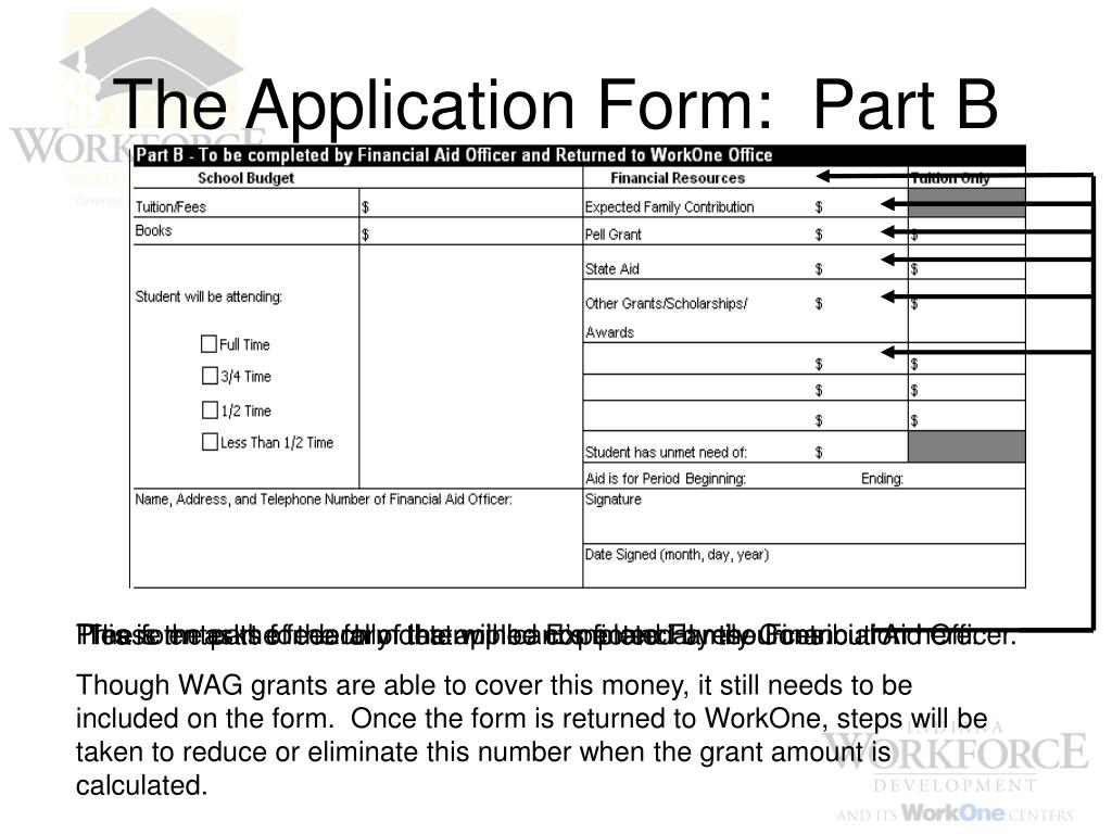 The Application Form:  Part B