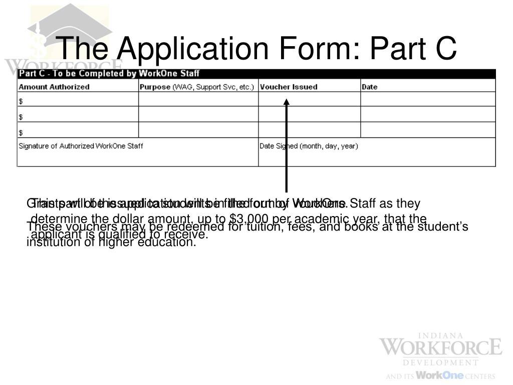The Application Form: Part C