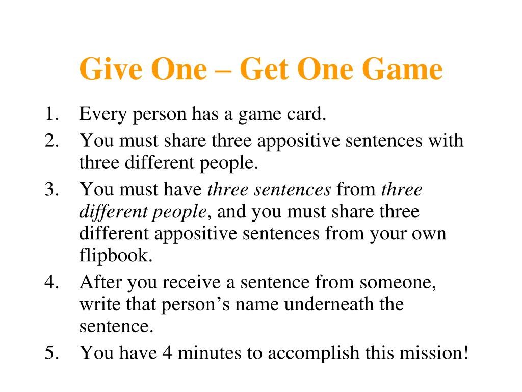 Give One – Get One Game