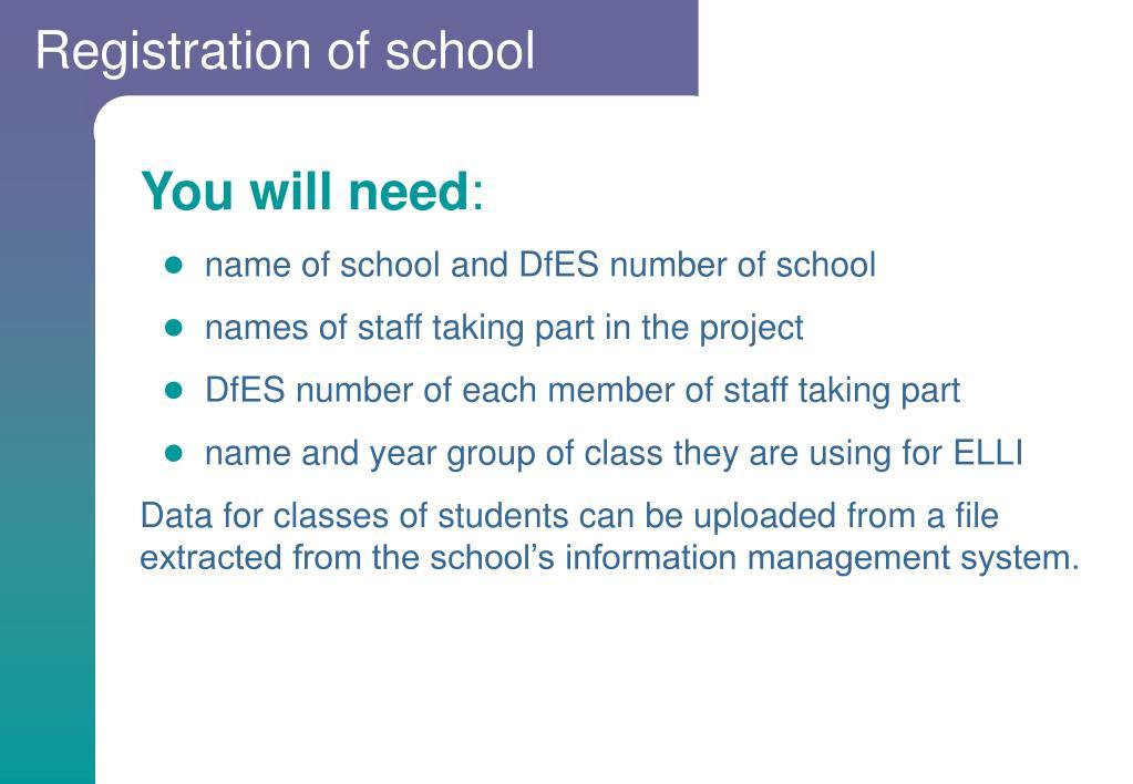Registration of school