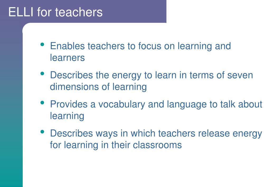 ELLI for teachers
