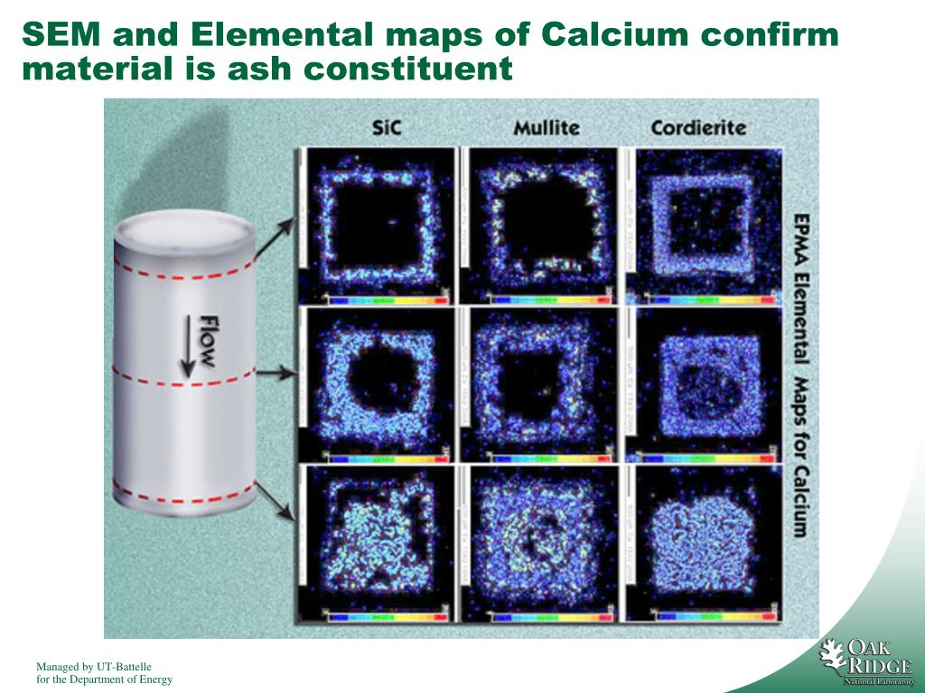 SEM and Elemental maps of Calcium confirm material is ash constituent