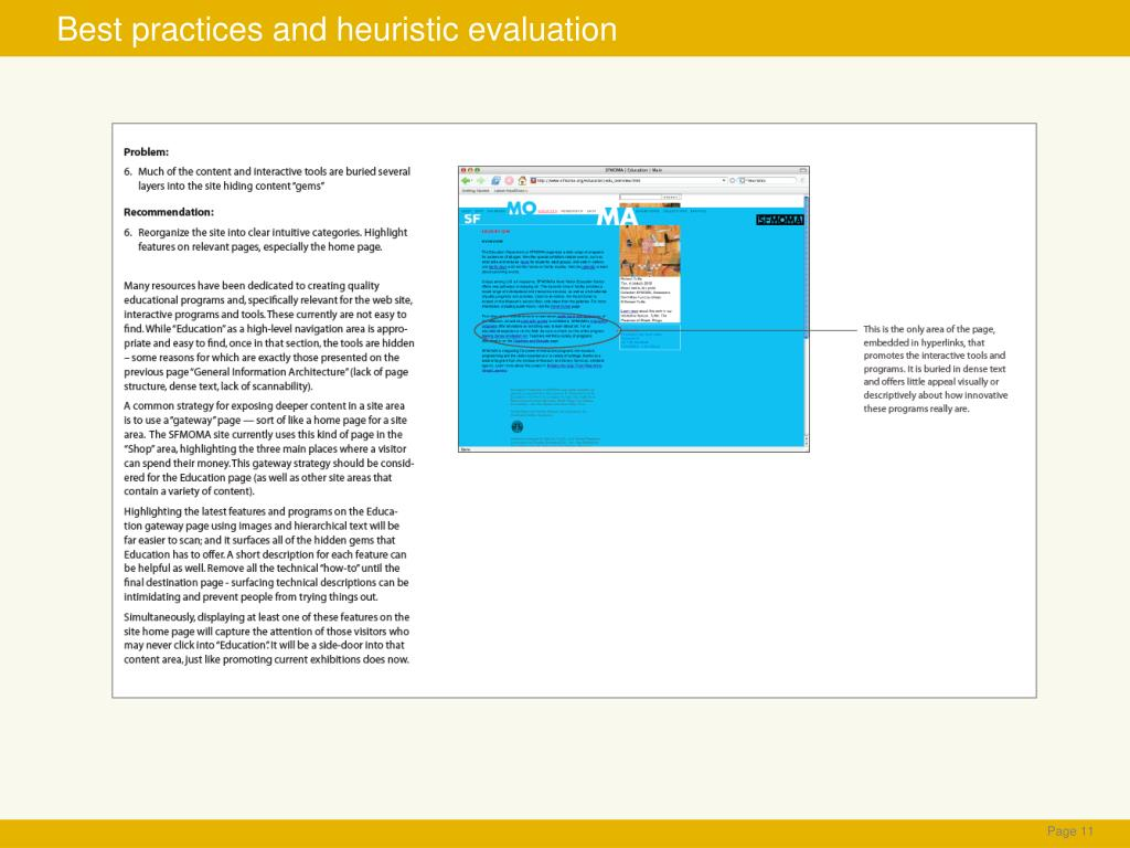 Best practices and heuristic evaluation