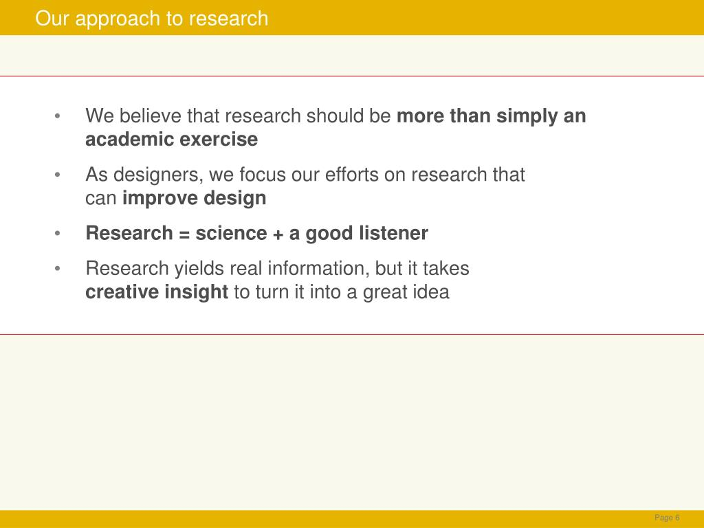 Our approach to research