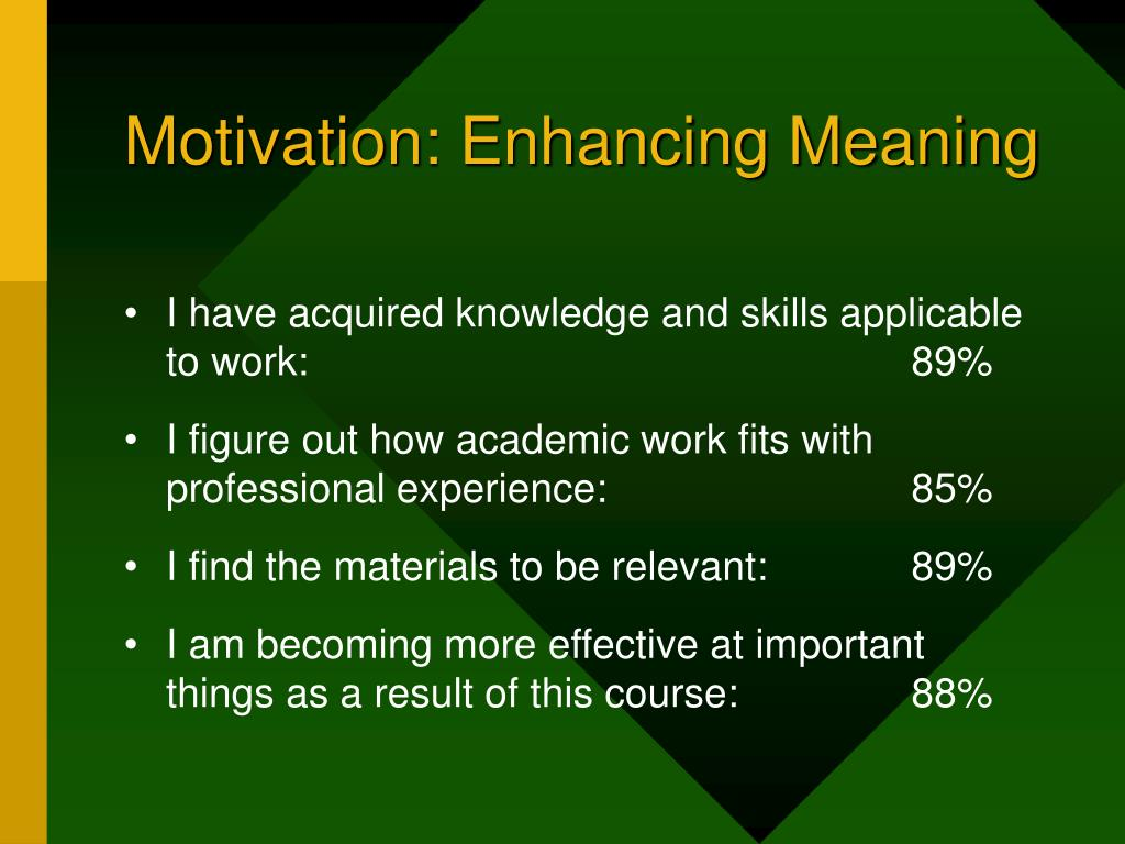 Motivation: Enhancing Meaning