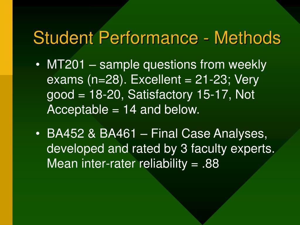 Student Performance - Methods