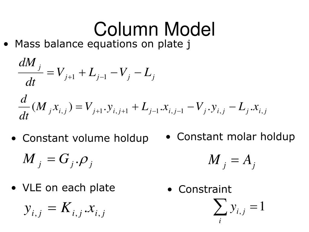 Mass balance equations on plate j