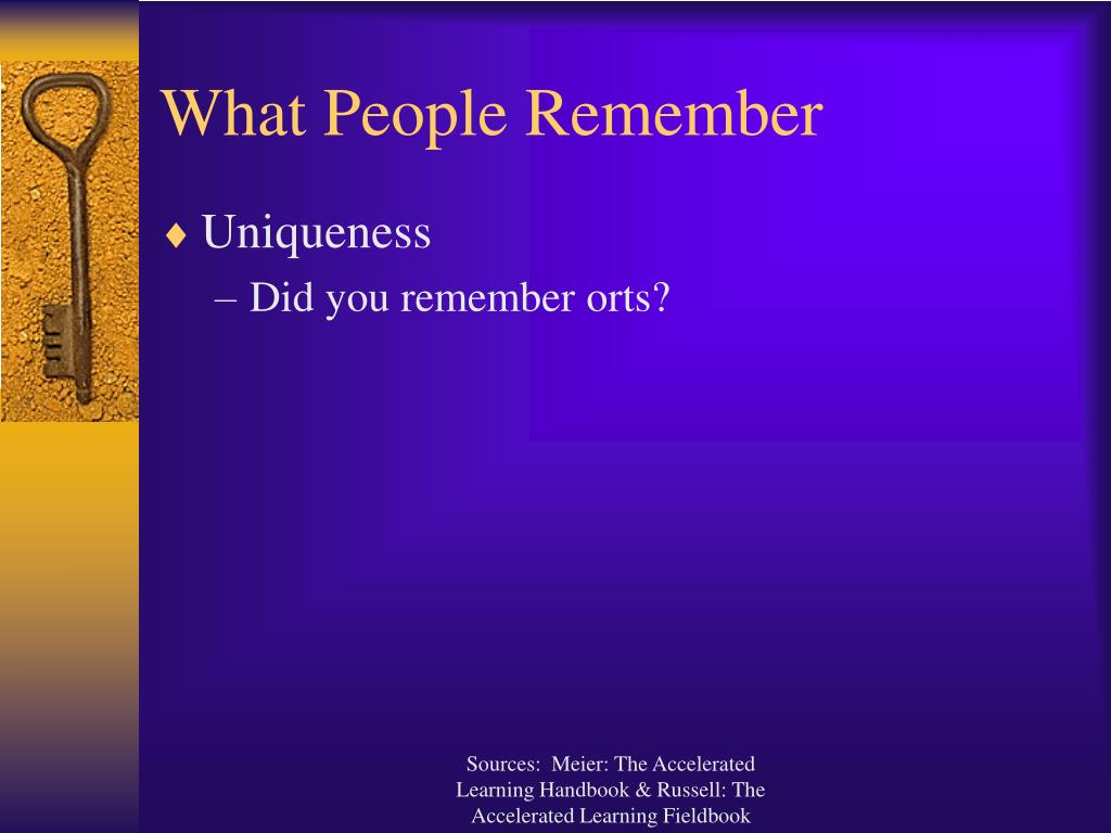 What People Remember