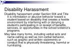 disability harassment