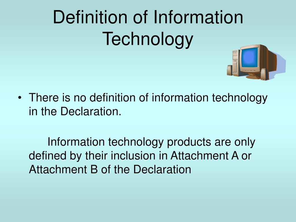 technology information definition agreement presentation ppt powerpoint ita inclusion semiconductor scientific defined declaration customs slideserve