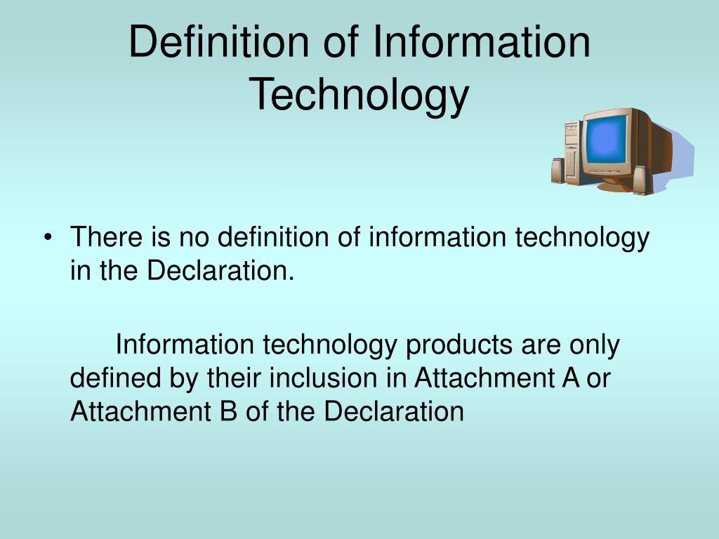 technology definition presentation ppt powerpoint ita inclusion agreement declaration defined customs slideserve