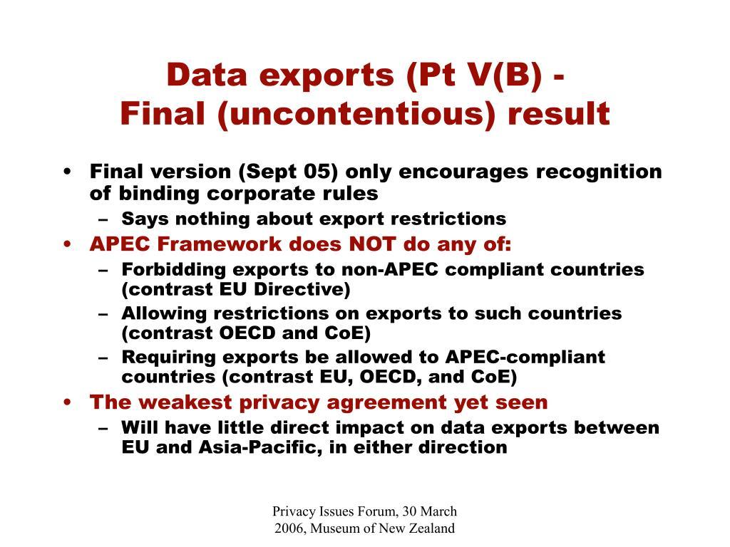 Data exports (Pt V(B) -
