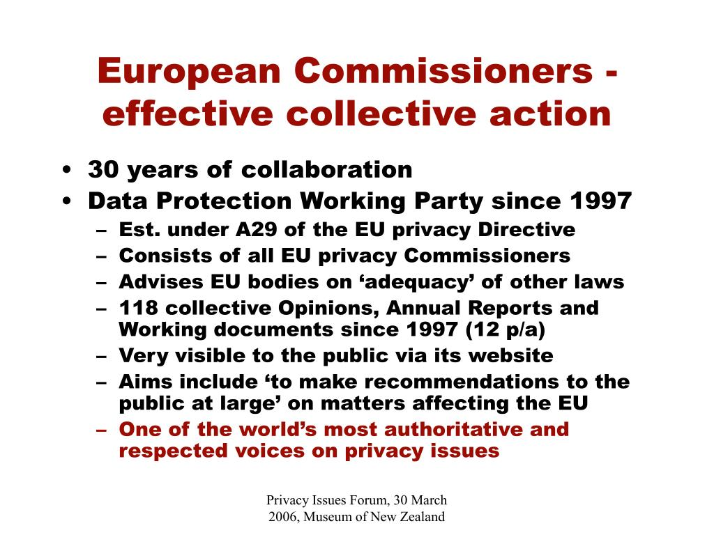 European Commissioners - effective collective action