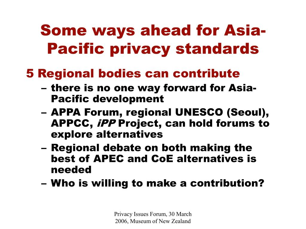 Some ways ahead for Asia-Pacific privacy standards