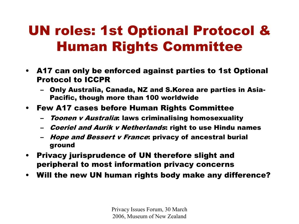 UN roles: 1st Optional Protocol & Human Rights Committee