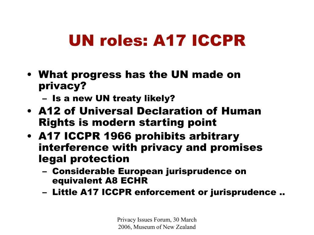 UN roles: A17 ICCPR