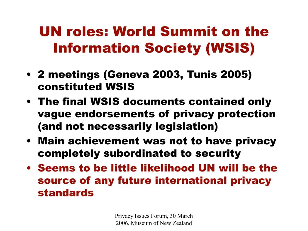 UN roles: World Summit on the Information Society (WSIS)