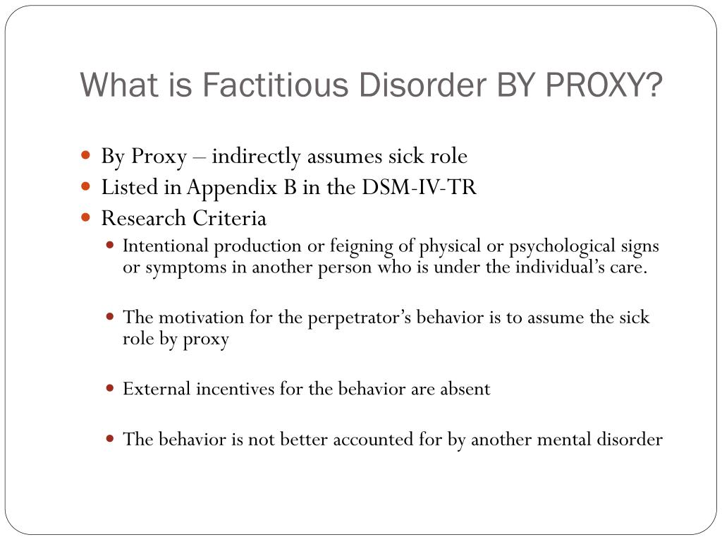 factitious disorders proxy scenario study