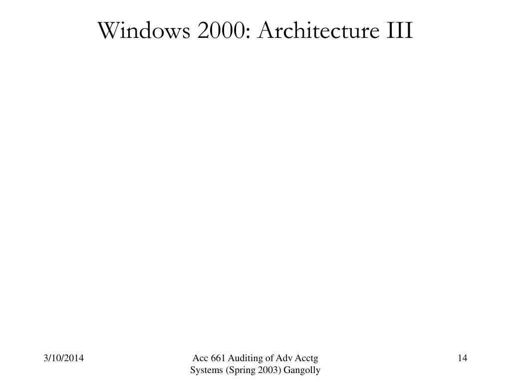 Windows 2000: Architecture III