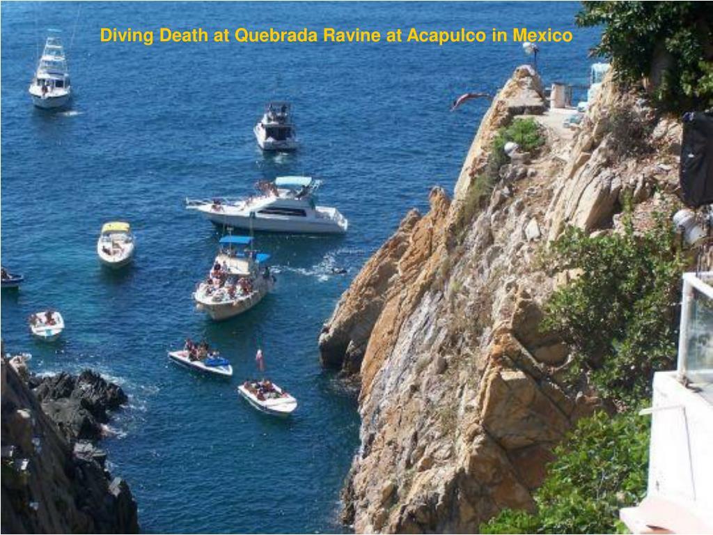 Diving Death at Quebrada Ravine at Acapulco in Mexico