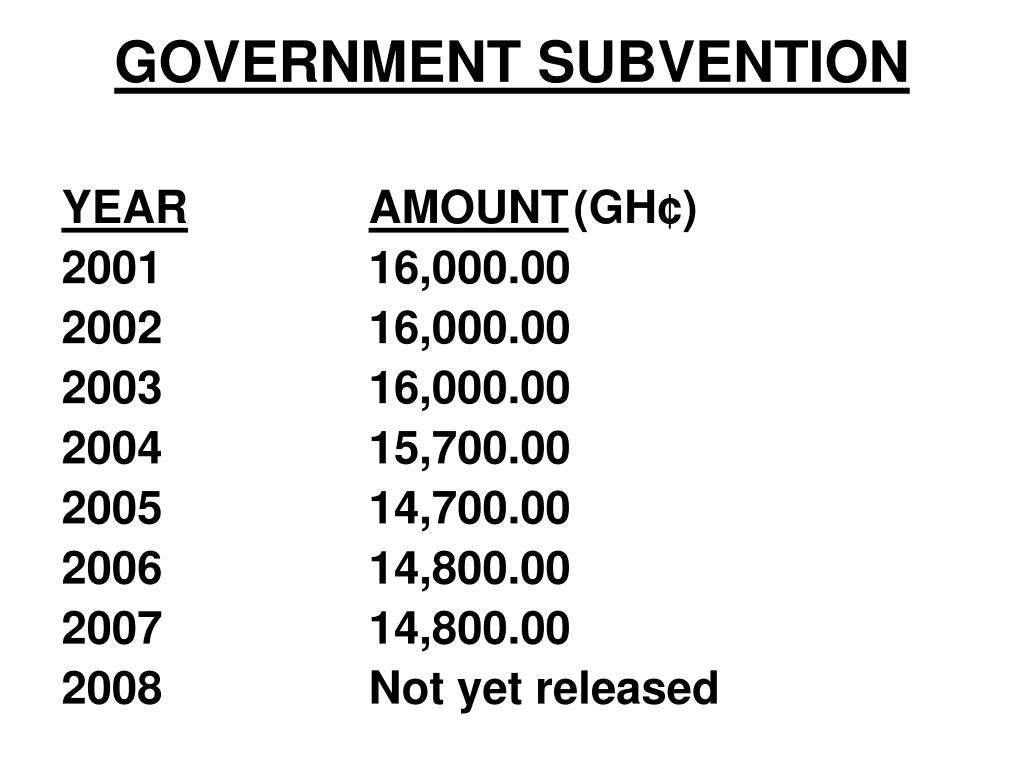 GOVERNMENT SUBVENTION