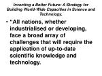 inventing a better future a strategy for building world wide capacities in science and technology